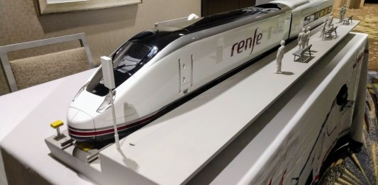 High speed train models like this were on display at the Cascadia Rail Summit. (Credit: Doug Trumm)