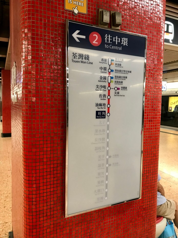 A wall-mounted sign highlighting location-relevant information at Mong Kok Station in Hong Kong's MTR metro system.