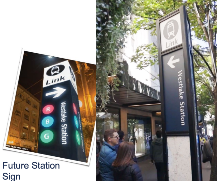 Left: future light rail station totem design to be used; Right: newer totem design currently used by Sound Transit. (Sound Transit)