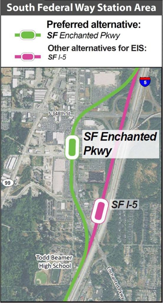 The conceptual alignment and station locations for the South Federal Way Station. (Sound Transit)