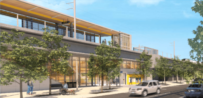 Rendering of the elevated station for Kent/Des Moines. (Sound Transit)
