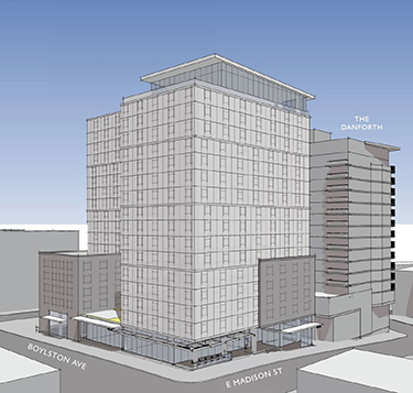A collaboration between Plymouth and Bellwether at a Sound Transit site gifted to the nonprofit providers, the Madison/Boylston tower in First Hill will provide 362 affordable homes in its 17 stories, as this early rendering shows. (Credit: Weber Thompson)