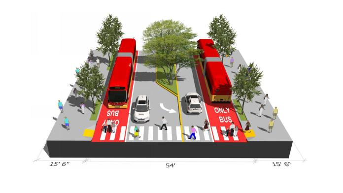 Bus lanes and dropping a general purpose lane in each direction would turn Aurora Avenue into a much safer and more walkable street. (Image by Ryan DiRaimo)