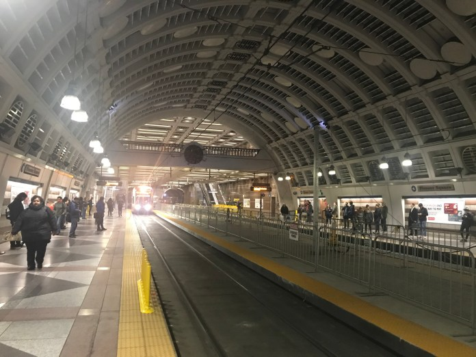 The newly installed center platform at Pioneer Square Station.