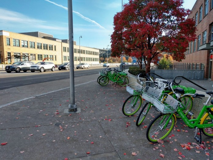 The Fremont Bridge is a popular drop-off spot for Lime bikes. (Photo by Doug Trumm)