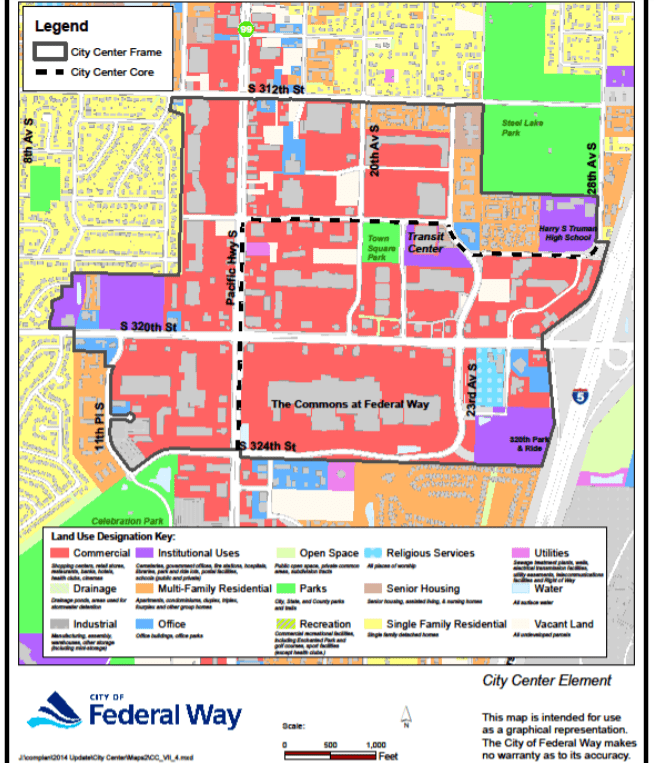 Federal Way has designated much of the station area to commercial uses. (City of Federal Way)