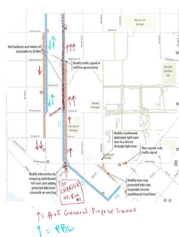 This document, obtained from SDOT, shows the number of general purpose lanes in each segment of the 1st Ave/Queen Anne couplet with red arrows, and the proposed bike facility in blue. A bike lane on 1st Avenue N north of Thomas was crossed out of the map. (City of Seattle)