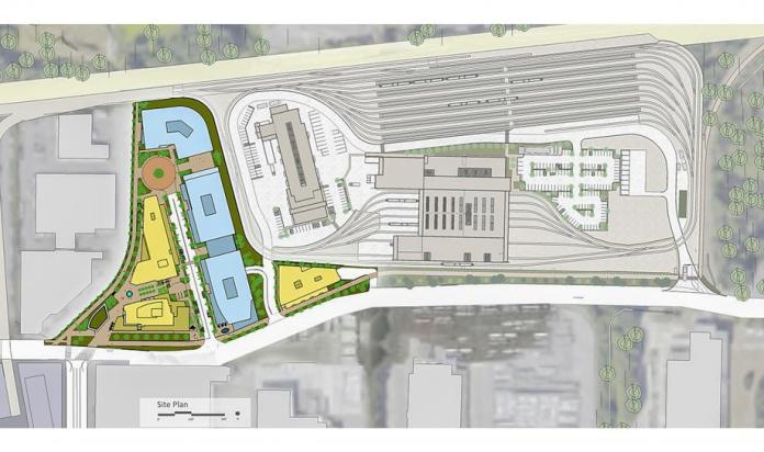 Conceptual site and landscape plan of the TOD site and OMF East from above. (Sound Transit)