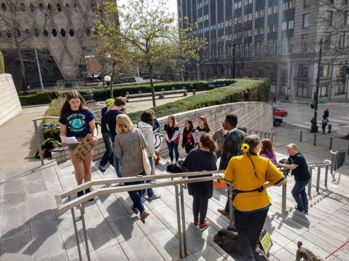 Youth climate activists organized the first Fridays for the Future rally on March 22, 2019. District 4 City Council candidate Shaun Scott attended and gave a brief talk encouraging activists. (Photo by author)