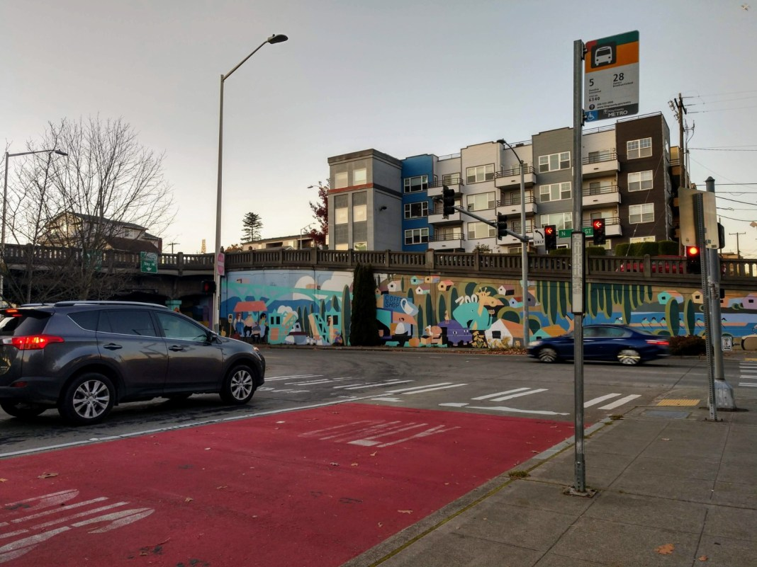 Camera enforcement of blocking the box and bus lanes would be a possibility at this Fremont intersection if SB 5789 passes. (Photo by Doug Trumm)