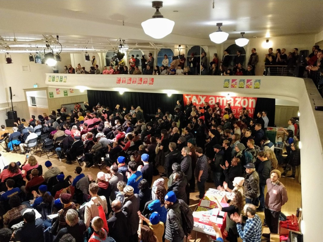 Washington Hall was filled to the brim with Sawant supporters. (Photo by Doug Trumm)