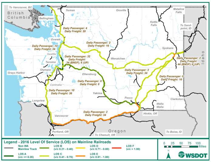 A map of the 2016 baseline LOS on mainline railways in Washington. (WSDOT)