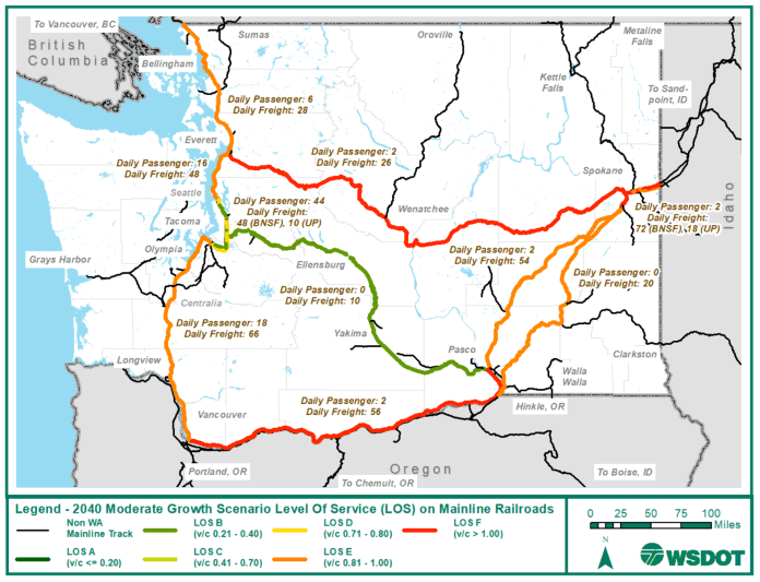 A map of the 2040 moderate-growth scenario LOS on mainline railways in Washington. (WSDOT)