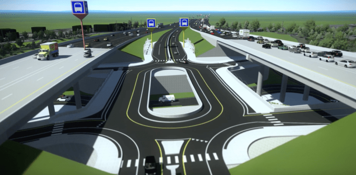 What the NE 85th St interchange is slated to look like when reconstructed. Sound Transit has a video of the interchange in operation. (Sound Transit)