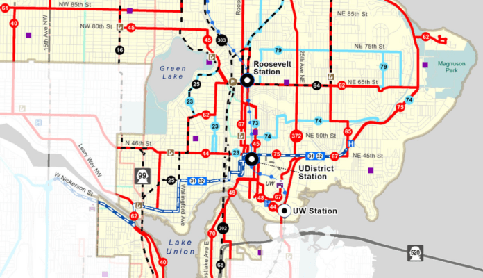 Metro's proposed bus restructure would offer revised paths and new routes to reach the three new light rail stations in North Seattle. (King County Metro)