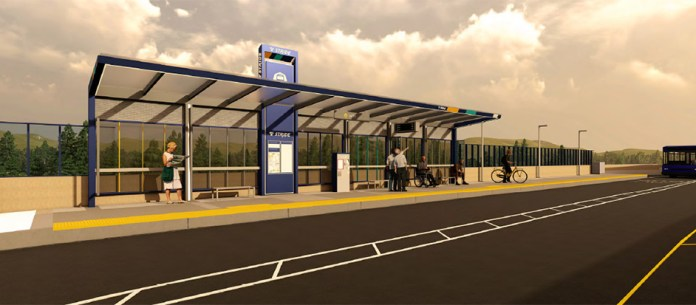 Rendering of what a Stride station would look like on I-405. (Sound Transit)