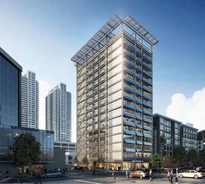 A rendering for SLI's 15-story prefab tower in Belltown. (Collins Woerman)