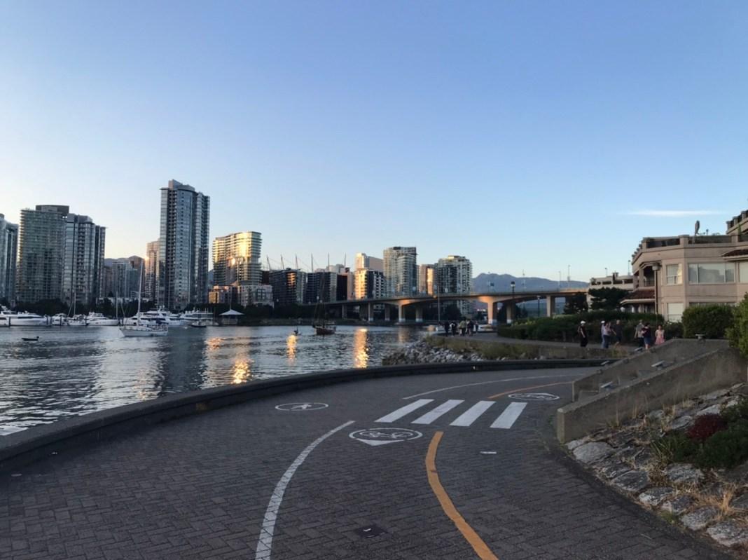 False Creek waterway and embankment in Vancouver, British Columbia.