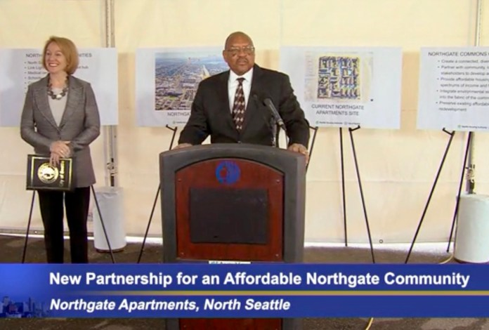 SHA Executive Director Andrew Lofton introduced Mayor Jenny Durkan at the formal announcement of the future Northgate Commons equitable development site. (Credit: Seattle Channel)