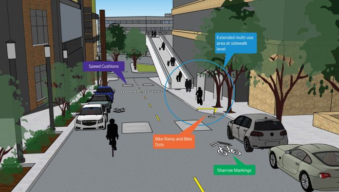 """Option 1: """"An extended multi-use area at sidewalk level that would extend approximately 20 feet north of the existing curb bulb by the Thomas Street Overpass entrance."""" (City of Seattle)"""