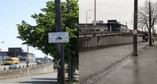 """Two images of intersection near Ballard bridge. 2002 image includes a sign saying """"Ballard Interbay Industrial Area."""" Contemporary right image does not."""