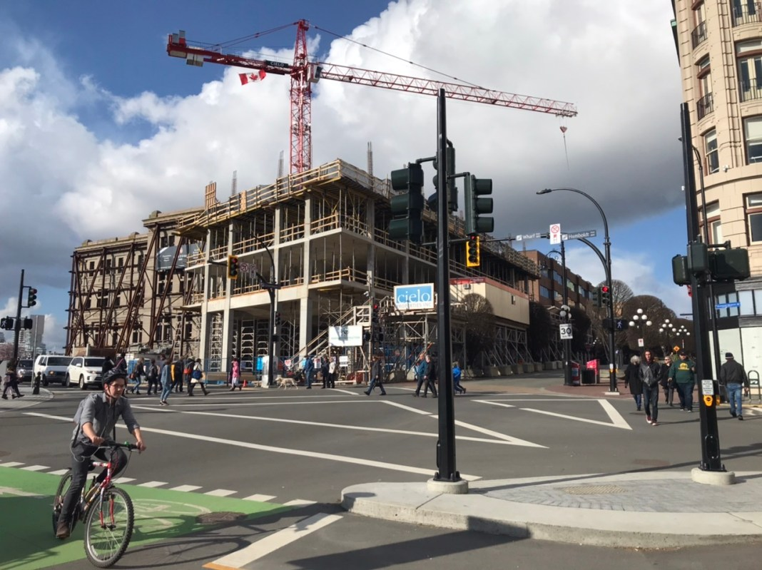 A protected bike and all-way pedestrian intersection in Victoria.
