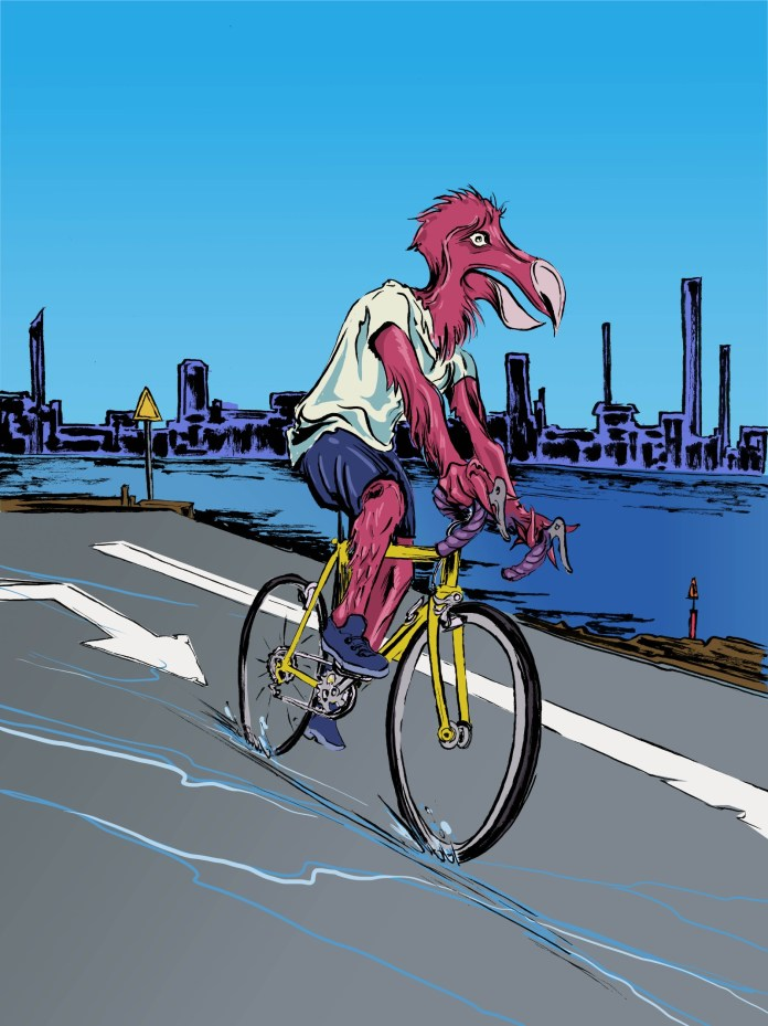 A dodo on a bike along the industrial waterfront. (Reed Olson)