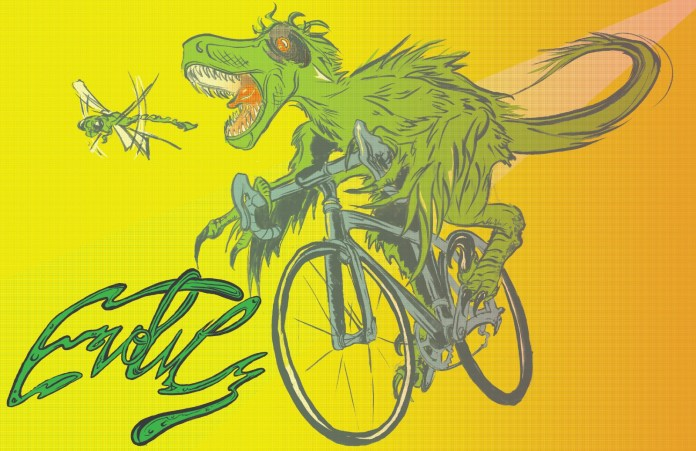 """""""Evolve"""" shows a T-rex on a bike chasing and trying to eat a dragonfly. (Reed Olson)"""