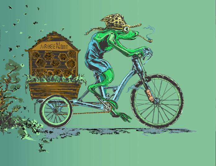 """A frog in a cargo bike pulling a bee hive with the slogan """"Air Bee N Bee"""" on it. (Reed Olson)"""