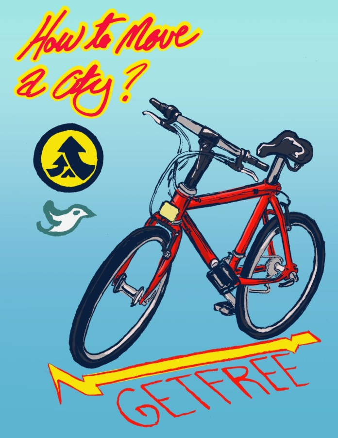 """""""How to Move a City"""" graphic shows a red bike with """"get free"""" stenciled below. (Reed Olson)"""