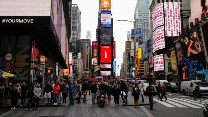 Time Square is a good place to avoid pandemic or no. (Photo by Doug Trumm)