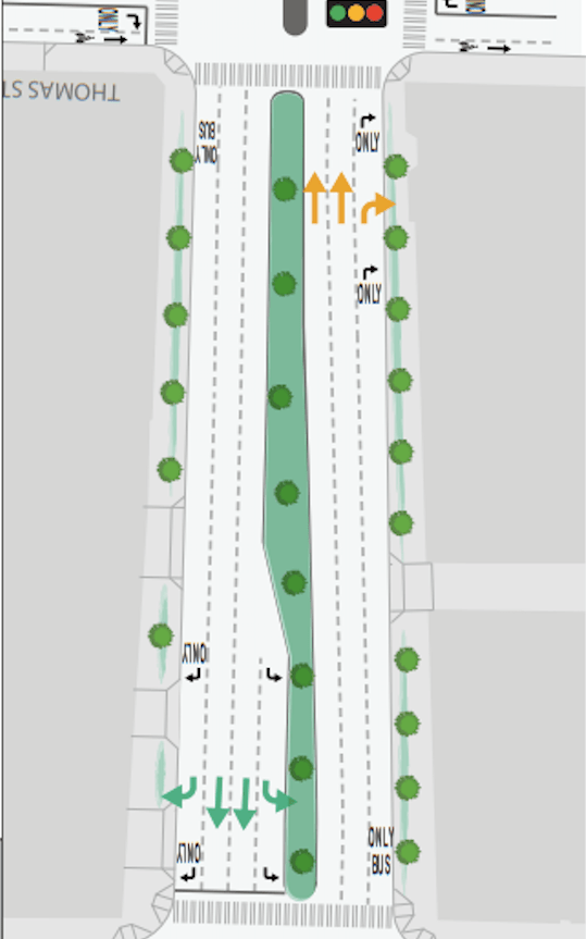 Plans for the block of 7th Ave N between John and Thomas Street, with very little dedicated transit space. (WSDOT)