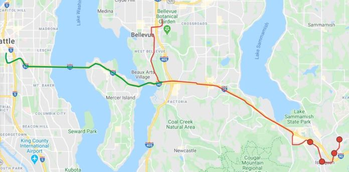 The construction of a three-way interchange on Mercer Slough could lead to both Seattle and Bellevue. (Google Maps, edited by Hyra Zhang)