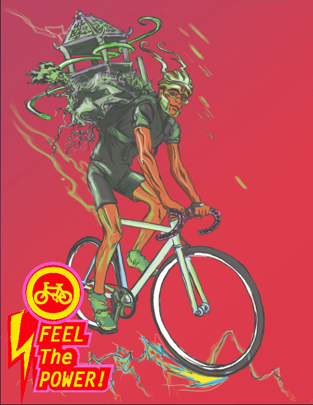 """""""Feel the Power"""" graphic features a biker carrying a gazebo on his back. (Reed Olson)"""