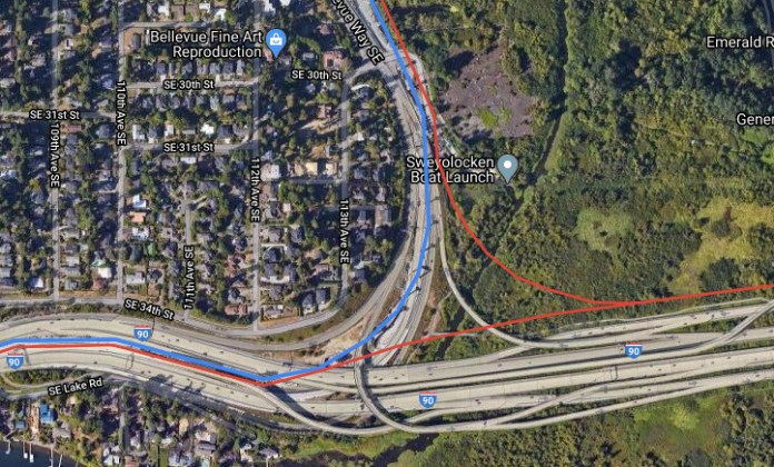 I-90 connection. Red is the purple line, blue is the east link. The Issaquah line would branch to offer direct service to both Seattle and Bellevue. (Google Earth, edited by the author)