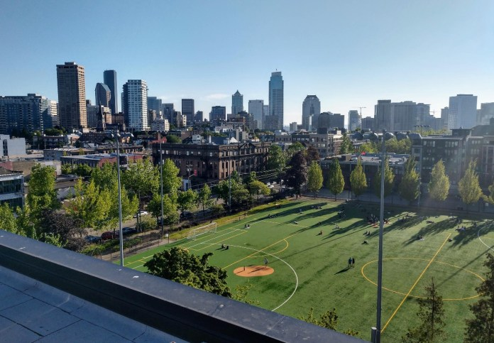 Playfield at Cal Anderson Park with skyline in the background. (Photo by Doug Trumm)