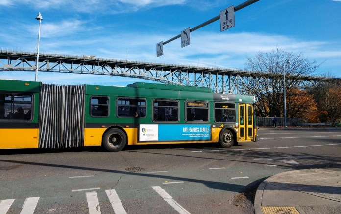 Route 40 bus approaches the Fremont Bridge, which is the busiest bascule lift bridge in the city. (Photo by Doug Trumm)