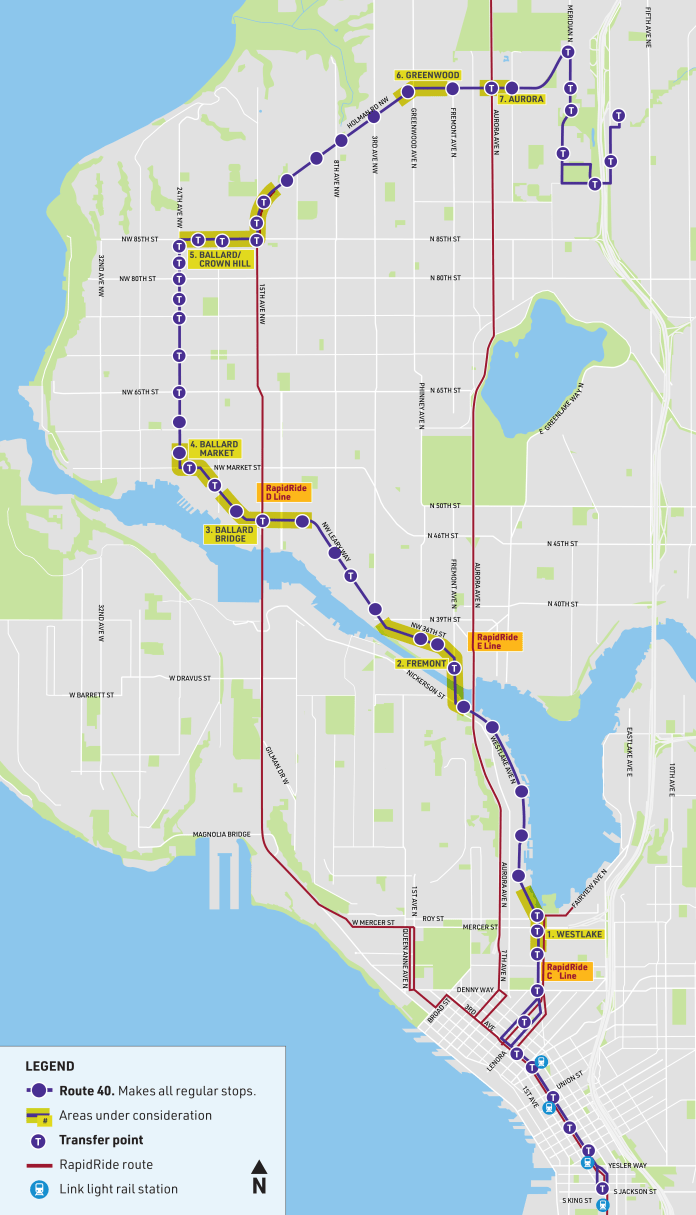 Route 40 has a question mark shape serving the Downtown core and looping to Ballard before swooping up and over to Northgate. (SDOT)
