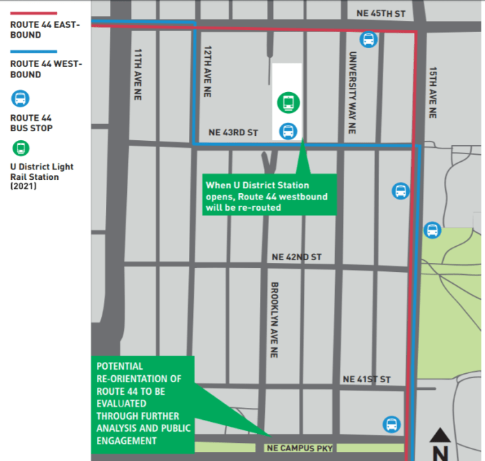 Draft concept shows SDOT plan to split Route 44 at 12th Avenue NE so westbound buses serve the 43rd Street entrance to U District Station and eastbound buses serve the 45th Street entrance. (SDOT)