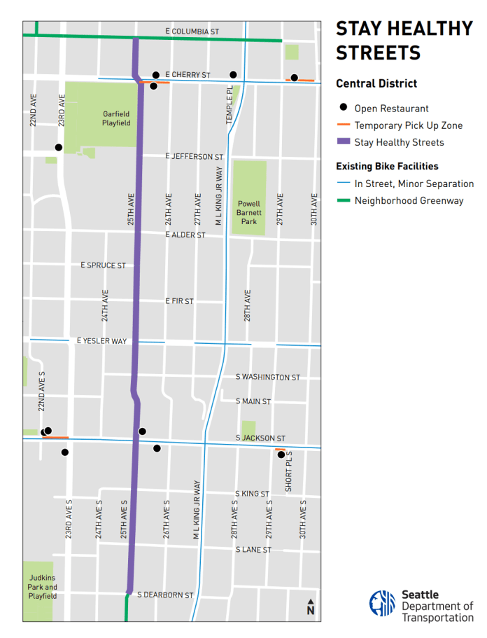 The Stay Healthy Streets route in the Central District will use 25th Avenue. (SDOT)