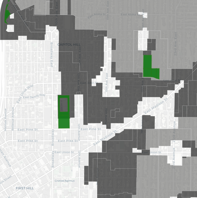 Capitol Hill: The green space are open spaces and the the dark gray is multifamily zoned land.