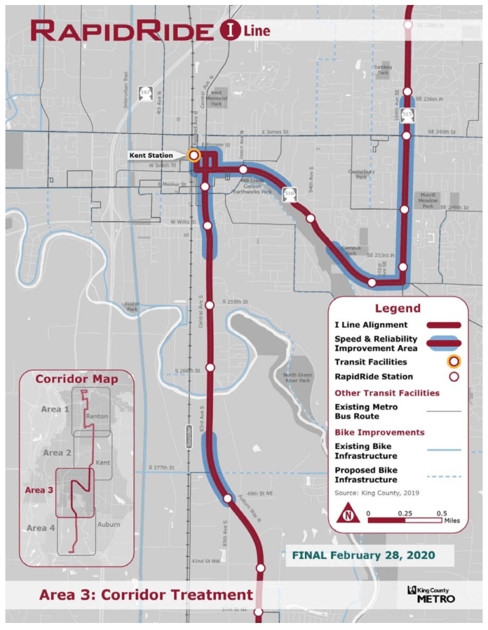 Area 3 of the RapidRide I Line corridor with proposed alignment, stops, and improvements. (King County)