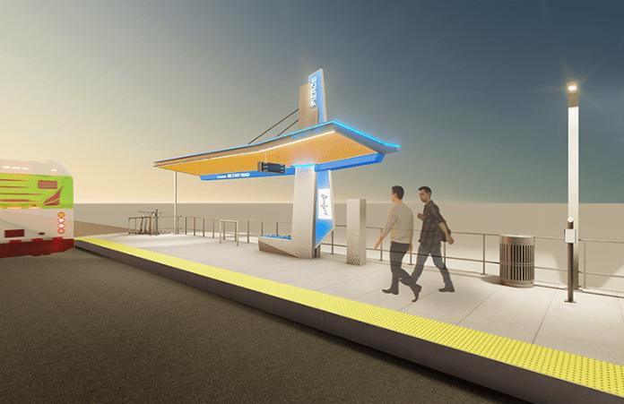 Nighttime rendering of the suspension station option. (Pierce Transit)