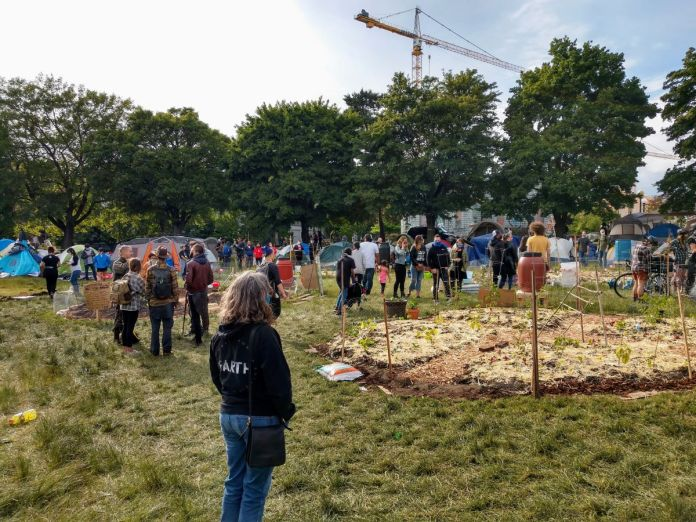 People gather and admire the garden that Marcus Hendersen spearheaded at Cal Anderson Park. (Photo by Doug Trumm)