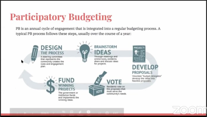 Participatory budget: Design the project, brainstorm ideas, develop proposals, vote, and fund winning projects. (Decriminalize Seattle)