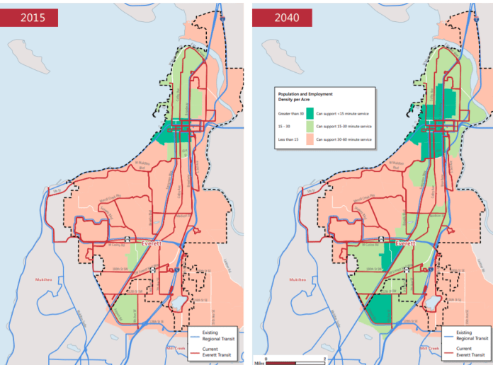 The City of Everett projects that much of the city (particularly along SR-99) will support frequent transit by 2040, but it lacks a plan to serve those needs via Everett Transit. (City of Everett)