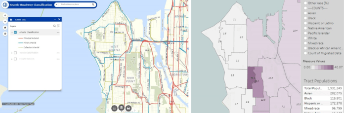 West Seattle has a star racial divide in the east-west direction. The designation of Principal Arterials seems to follow suit. (Left: City of Seattle; Right: University of Washington)