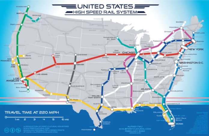 There are several cross-county corridors in Alfred Twu's ambitious high speed rail map including LA to Boston, LA to Miami and, going north-south, Tijuana to Vancouver,  Monterrey to Chicago, and Miami to Portland, Maine.