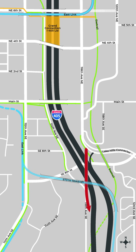 Option 2: Lake Hills Connector southbound on-ramp and close westbound to southbound on-ramp at NE 4th Street. (City of Bellevue)