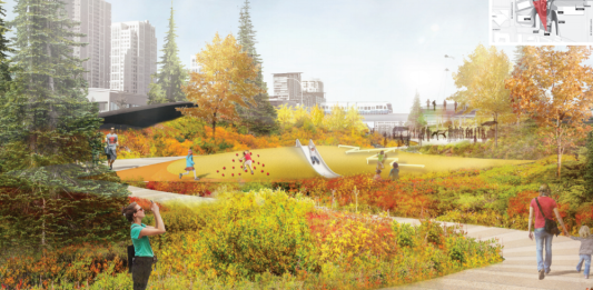 Pedestrians enjoy landscaping in this architect rendering.